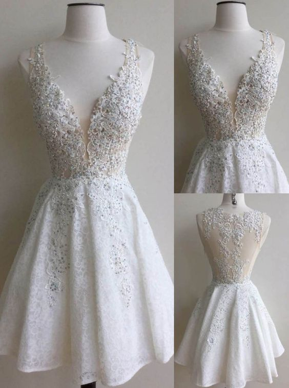 Lace Prom Dress, Short Homecoming Dress with Lace, Princess Short ...