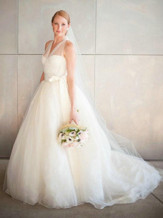 Romantic Tulle Wedding Dress,V-neckline Tulle Straps Bridal Dress ...