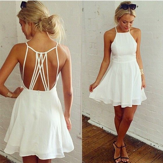 White Graduation Dresses Halter
