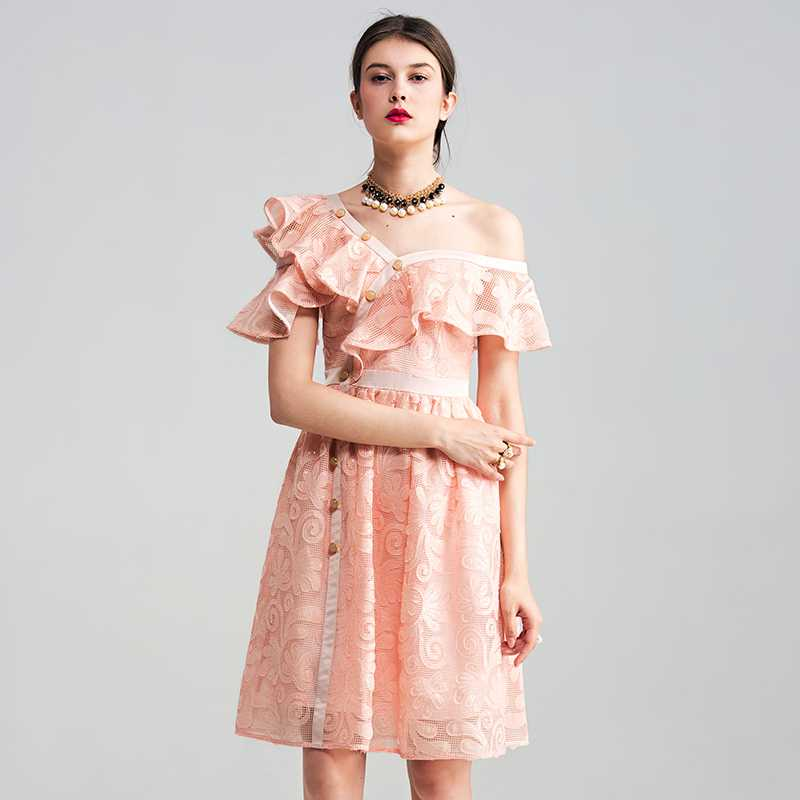 cf58d9c0177 Hot Pink One Shoulder Ruffle Sleeve Lace Midi Dress on Storenvy