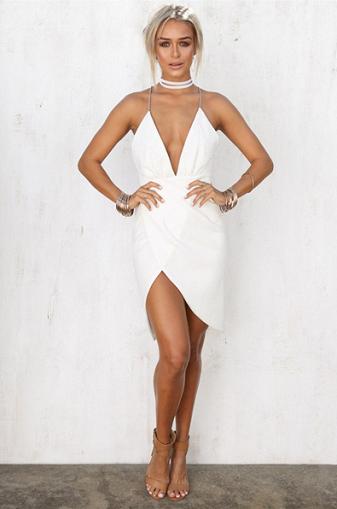 bdd461bdaa2 ... Hot Sexy Asymmetrical Deep V-Neck White Short Homecoming Dress with  Backless - Thumbnail 2 ...