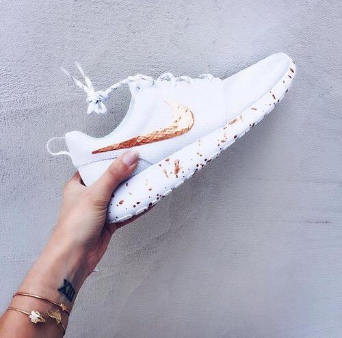 43ba168233a Rose Gold Splattered White Nike Roshe Runs · SneakerSuperShop ...
