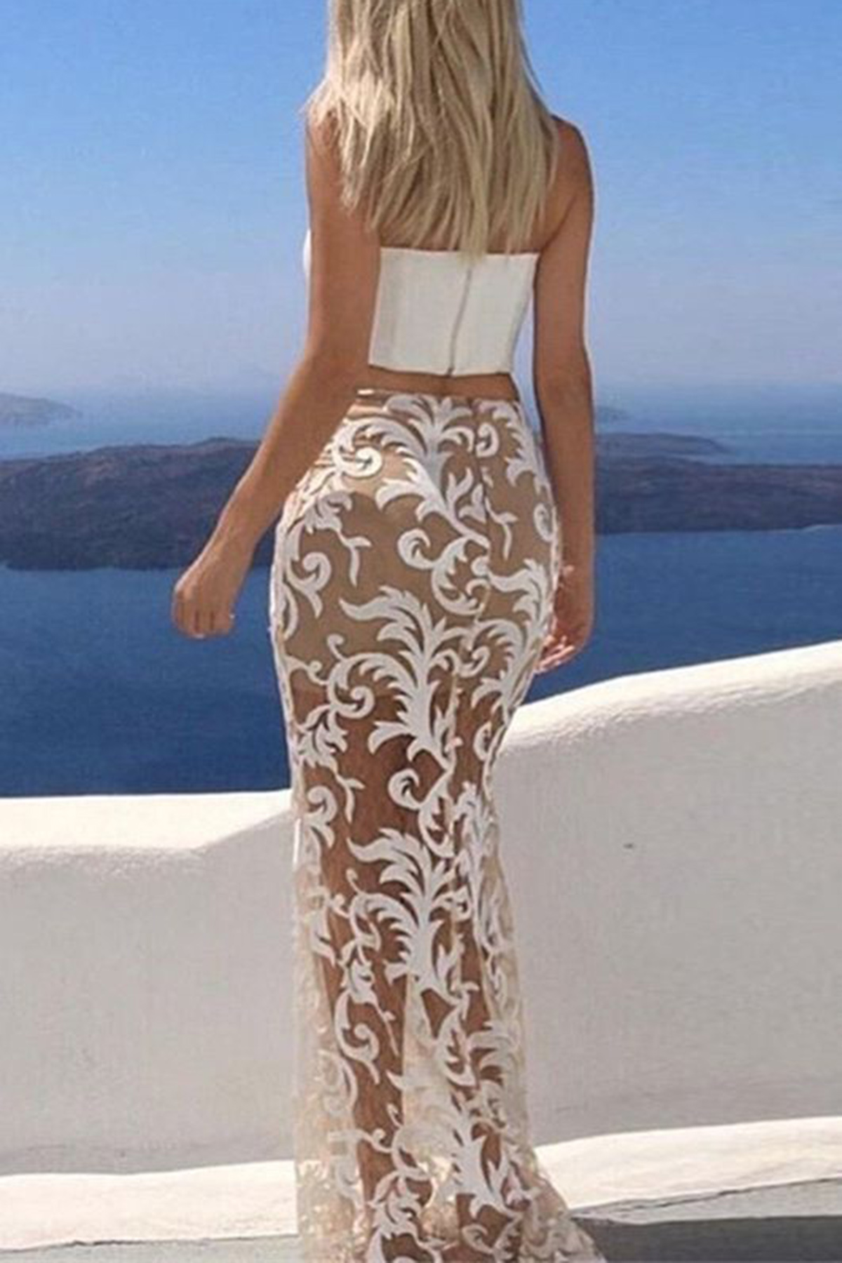 454d029ae60 Sexy white lace two pieces long strapless slim prom dress ...