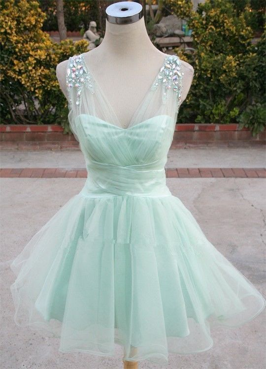 Cute Tulle Mint Prom Dress 2015 Mint Ball Gown Homecoming Dresses