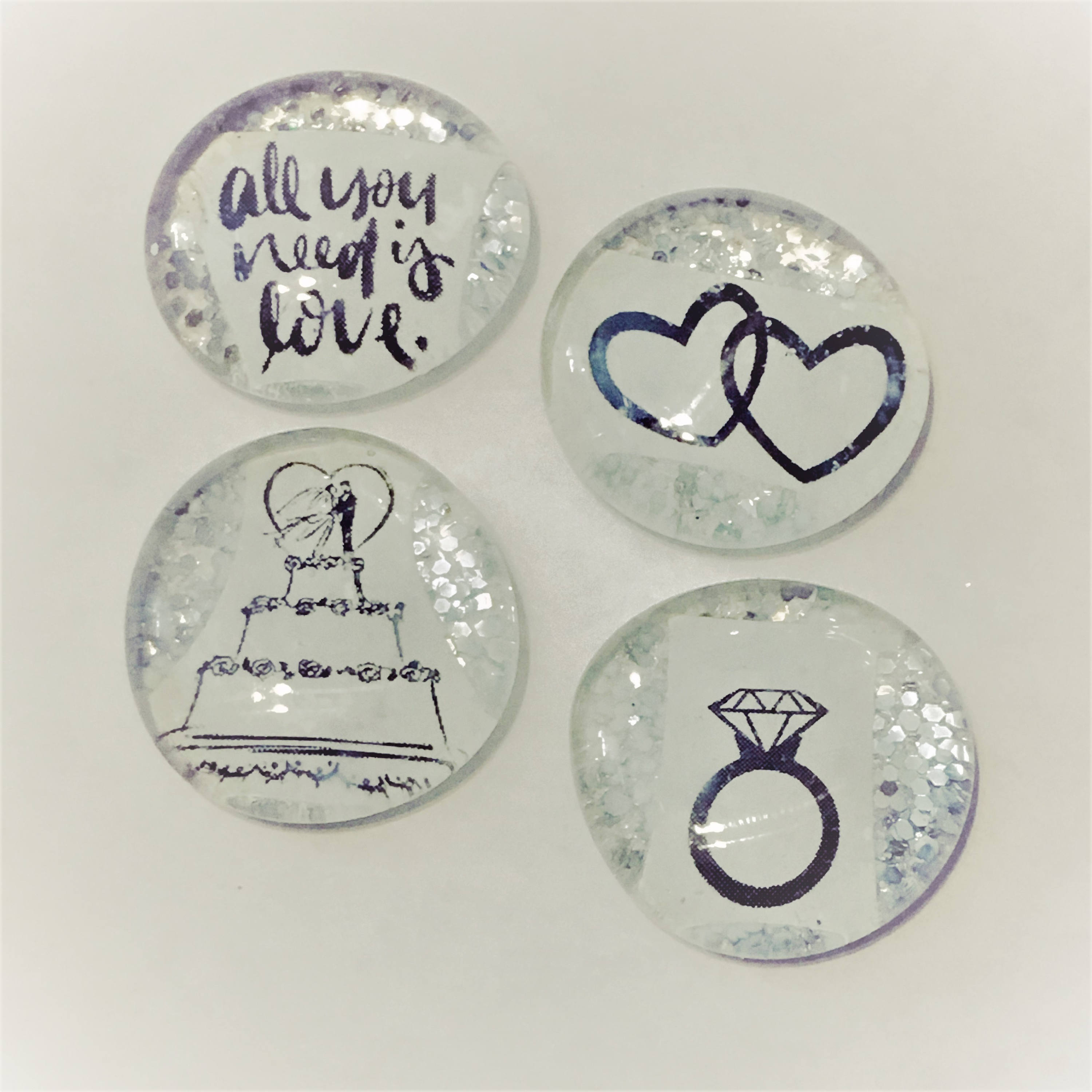 All You Need Is Love Silver Sparkle Magnetpin Wedding Favors