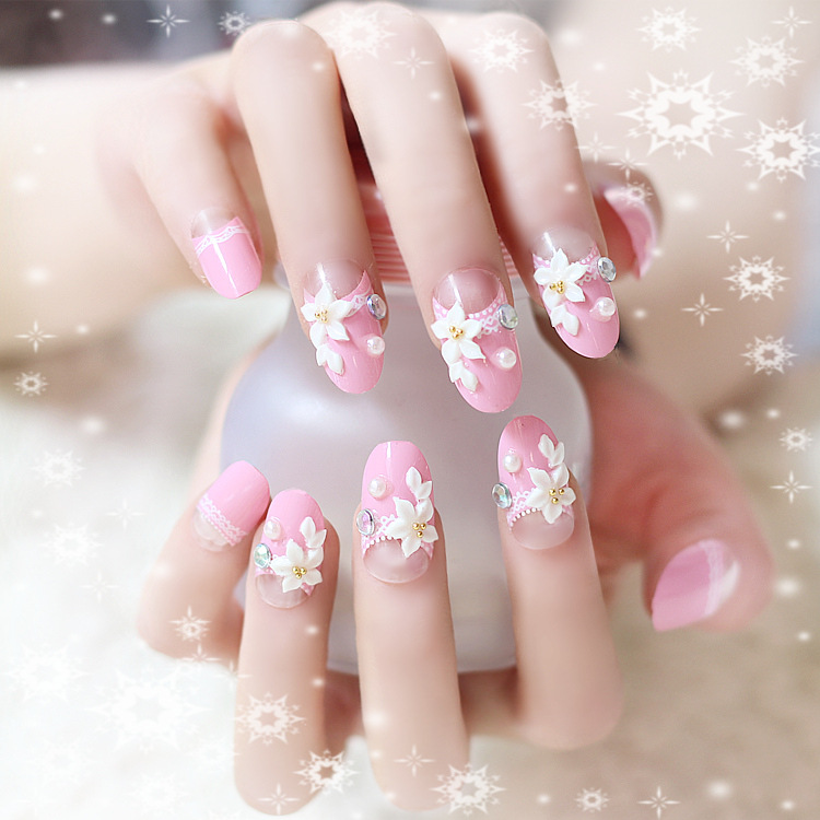 oval top flower beaded DIY fake nails faux nails box set 24 pieces ...