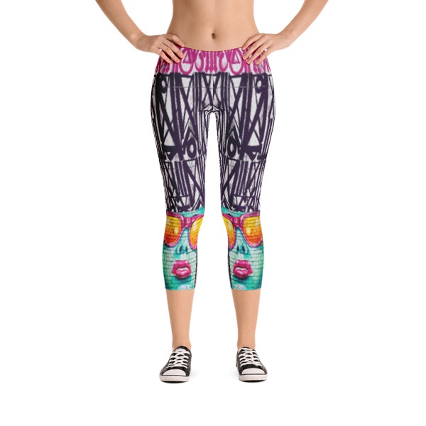17a2dbd1986db GIRL WITH PINK SUNGLASSES print capri leggings by