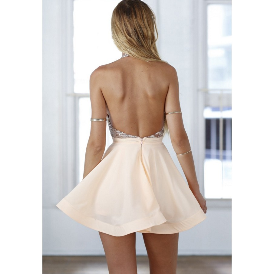 Halter Backless Short Homecoming Dresses Rose Gold Sequined Prom Dresses Mulala Online Store Powered By Storenvy