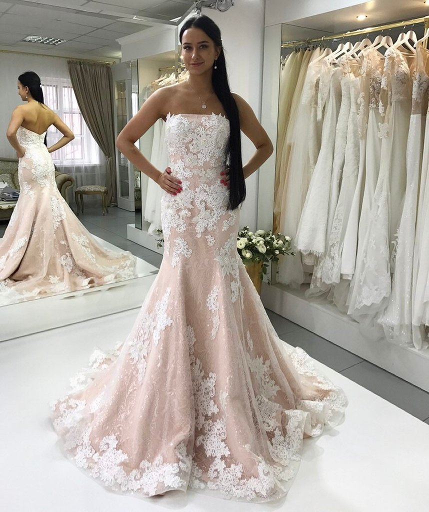 488208222f Sexy Strapless Champagne Mermaid Wedding Dress with Ivory Lace Appliques