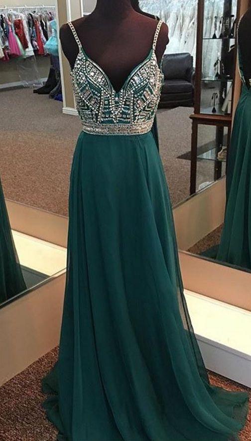 New Arrival Beads Rhinstones DARK green prom dress,long evening ...