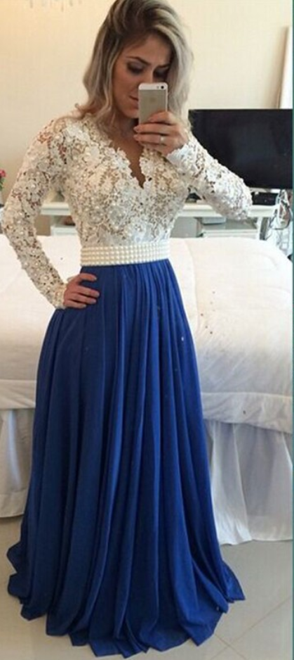 483dd8609f2 Modest Handmade Long Chiffon Royal Blue Beading Prom Dresses,Sparkly Long  Sleeves Prom Dress, Prom Gowns from olesa wedding shop