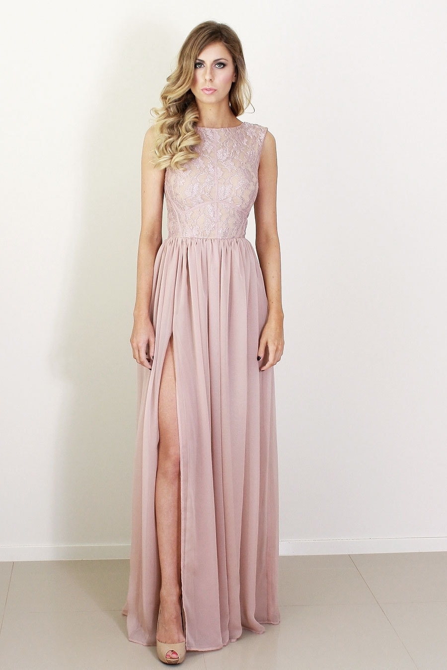 5897ff949ea Blush silk and lace bridesmaid dress.full original original