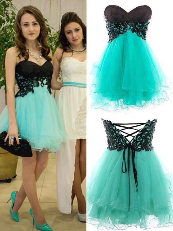e742dafe60 Sweetheart Black And Mint Tulle Short Prom Dress
