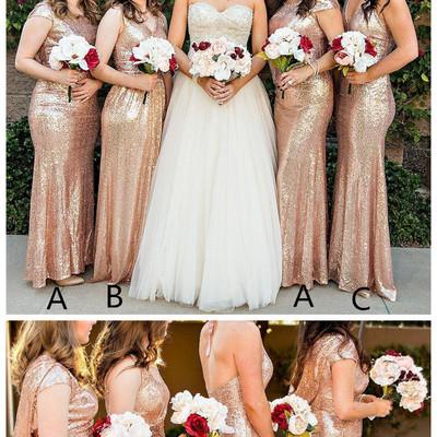 Hot sale gold bridesmaid dresses for wedding party cap sleeve sequins long  gold sequins dress vestido d47b7f51f1a7