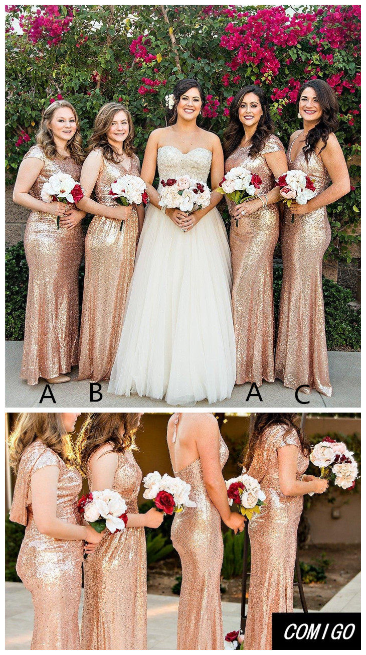 5b05517c457 Hot Sale Gold Bridesmaid Dresses For Wedding Party Cap Sleeve Sequins Long  Gold Sequins Dress Vestido