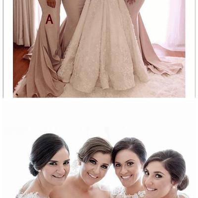 Champagne mermaid cap sleeves see through appliques lace long bridesmaid  dresses cheap under 50 wedding party 7b87386bfa4b