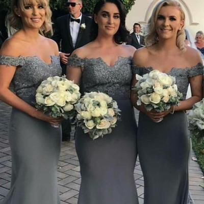 Vinca sunny gray mermaid bridesmaid dress short sleeve floor length wedding  party gowns robe demoiselle d 775cf5c11991
