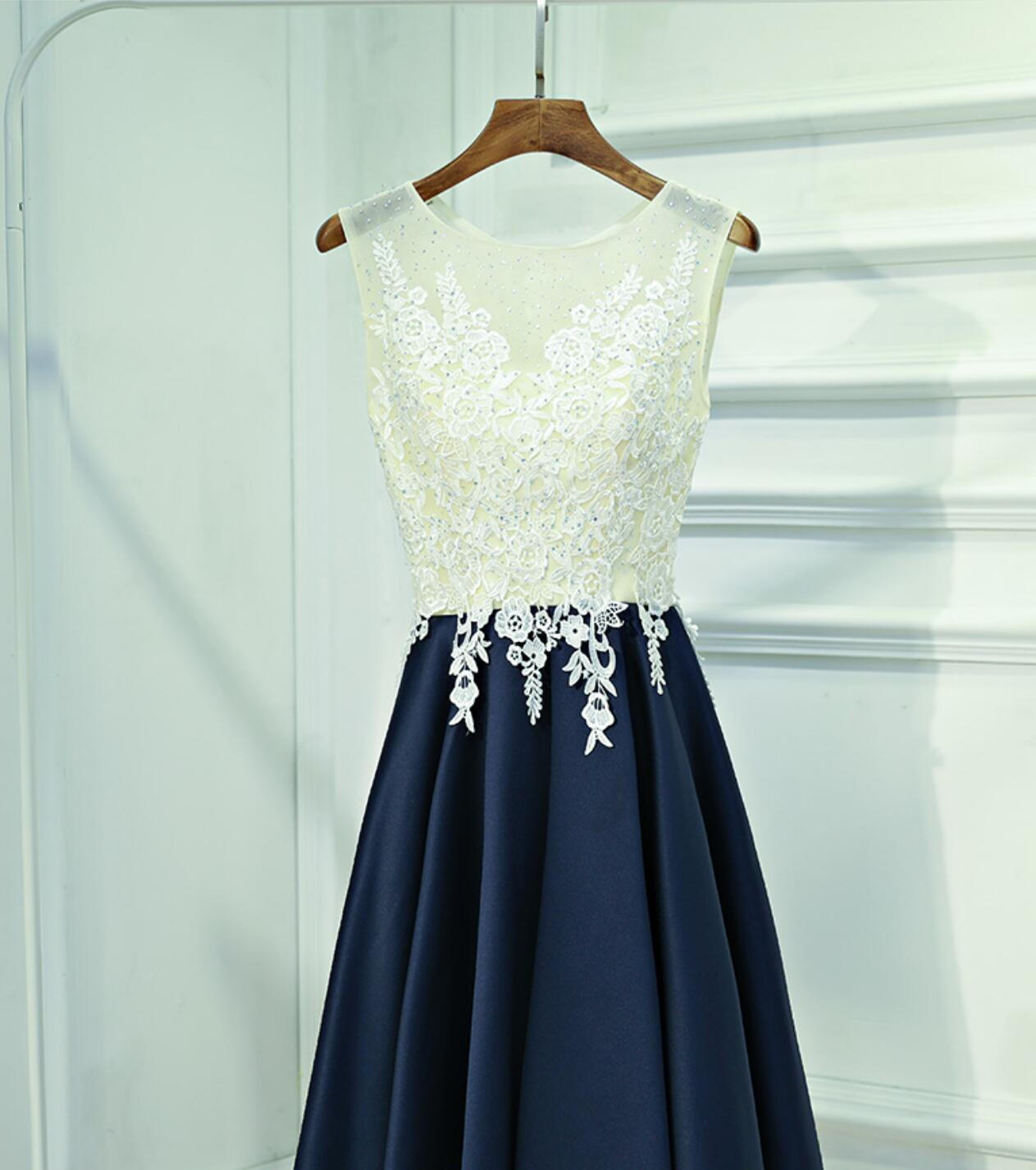 f0b105bdc04 See Through Lace Navy Skirt Short Homecoming Prom Dresses ...