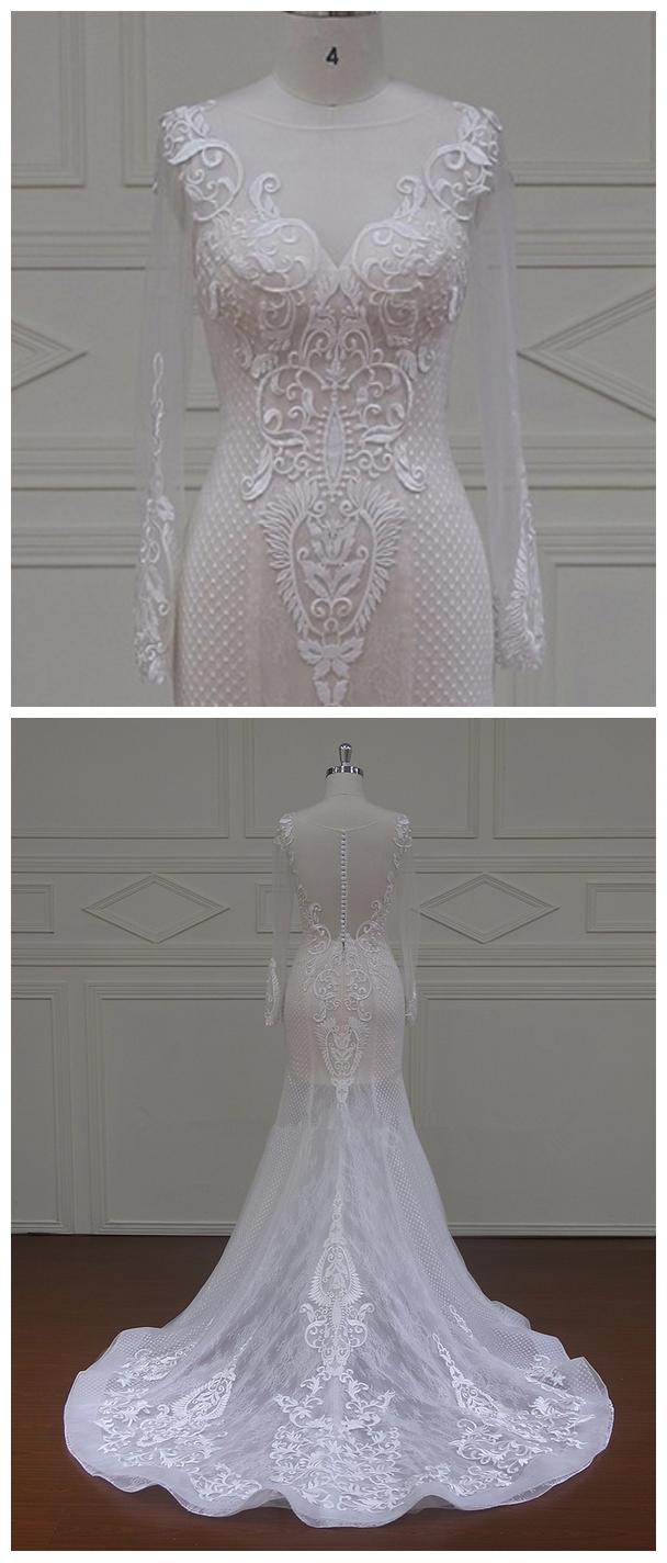 Luxury Wholesale Long Sleeve Sexy Design Wedding Dresses Mermaid