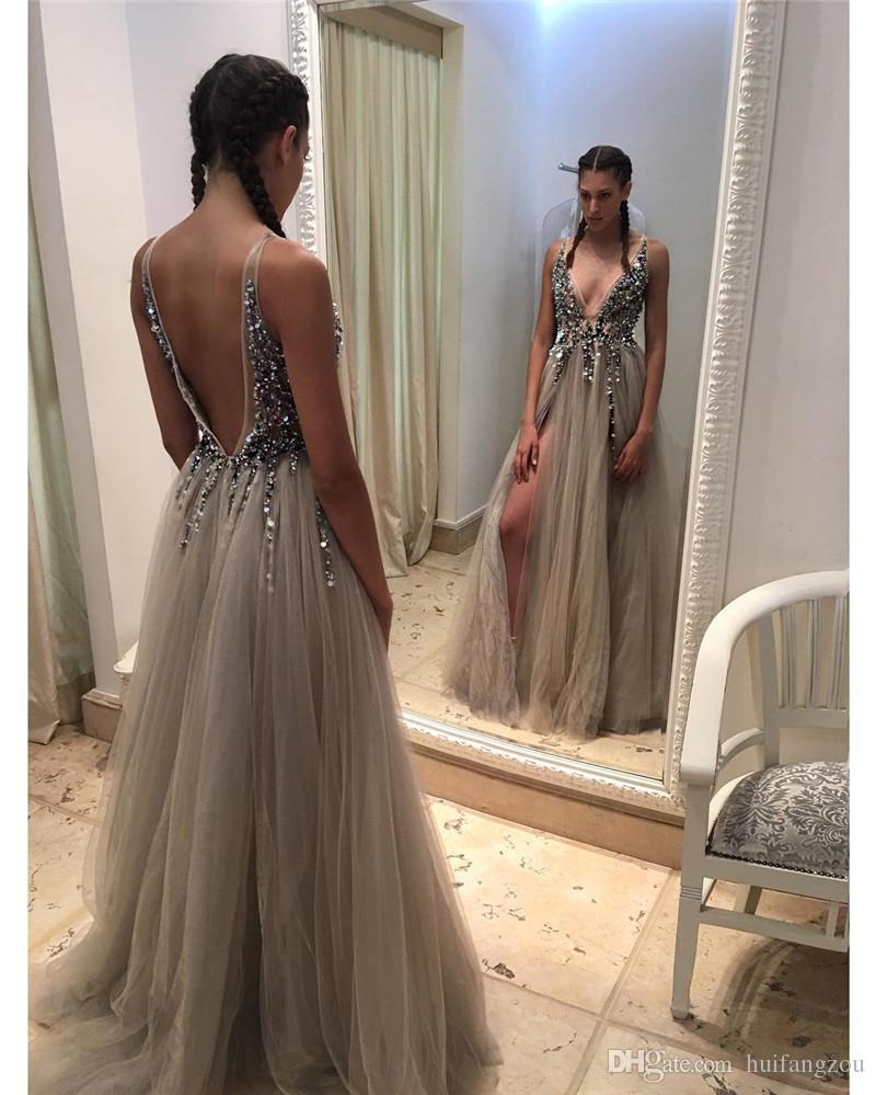 b108f74279 F473 Sexy Beading Gray Tulle Prom Dress