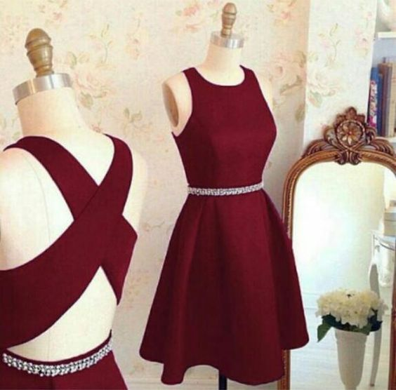 1f8af8ce73b Burgundy Homecoming Dresses Crisscross Back A-line Short Prom ...