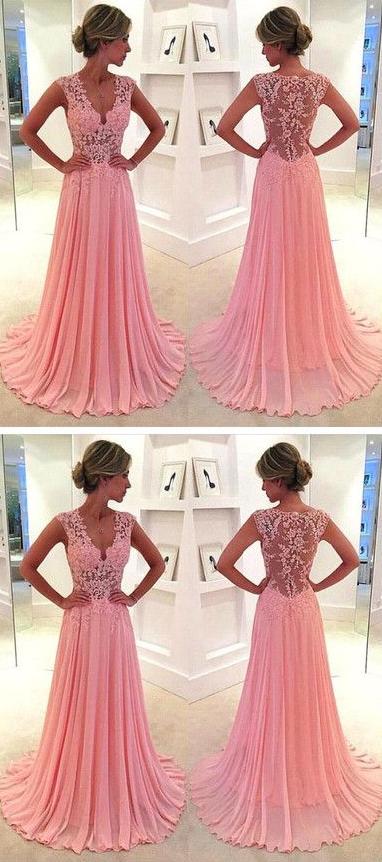 Lace V-neck see-through long chiffon prom dress Blush Pink Vintage ...