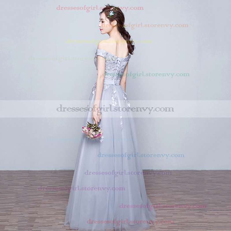 2e62a572b61e New A-line Gray Prom Dresses, Tulle Appliques Lace Evening Dresses ...