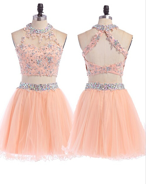 1d30c0ab2685 Two Pieces Beaded Lace Appliques Short Pink Homecoming Dresses,Graduation  Dresses,Prom Evening Dresses