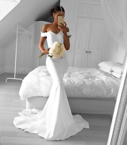 White Lace Mermaid Gown: White Mermaid Prom Dresses Off-the-Shoulder Lace Evening