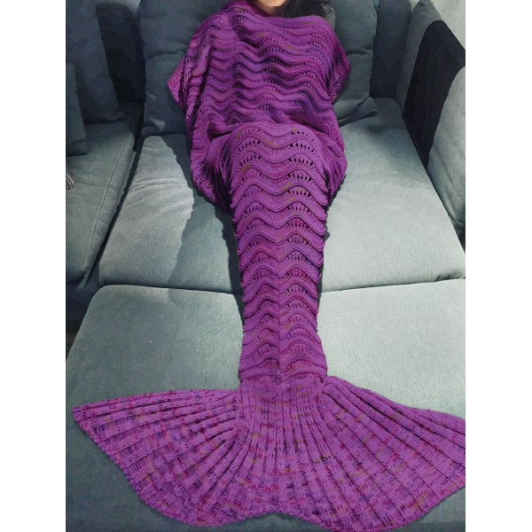 646b55bb177 Stylish handmade multicolor knitted tail blanket