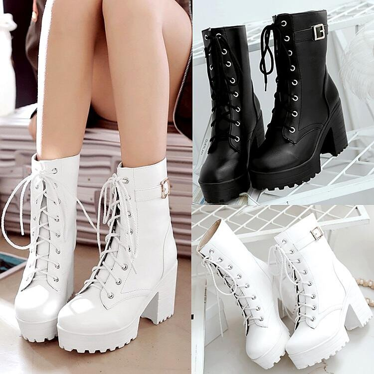 7f386d2aa67 Black/white cosplay harajuku JK heels Martin boots from Fashion Kawaii  [Japan & Korea]
