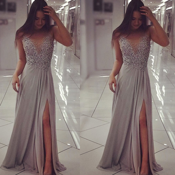 6a228cb56 Beaded Long Silver Prom Dresses Evening Gowns with Side Slit 108856 ...