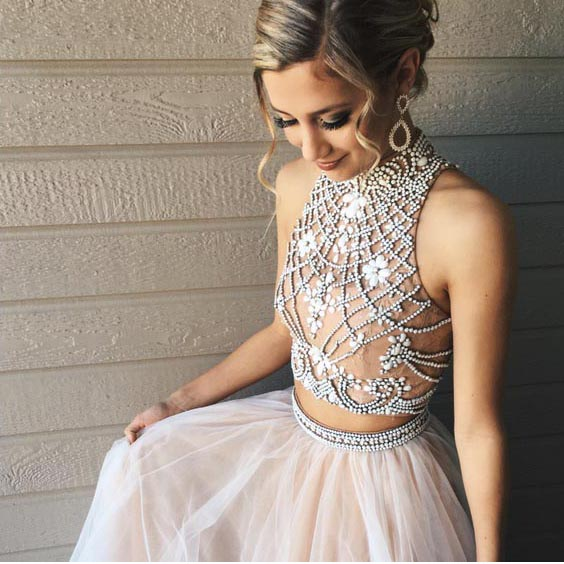 ea20bd6ee Two Piece A line Tulle Beading Pretty High Neck Prom Dresses