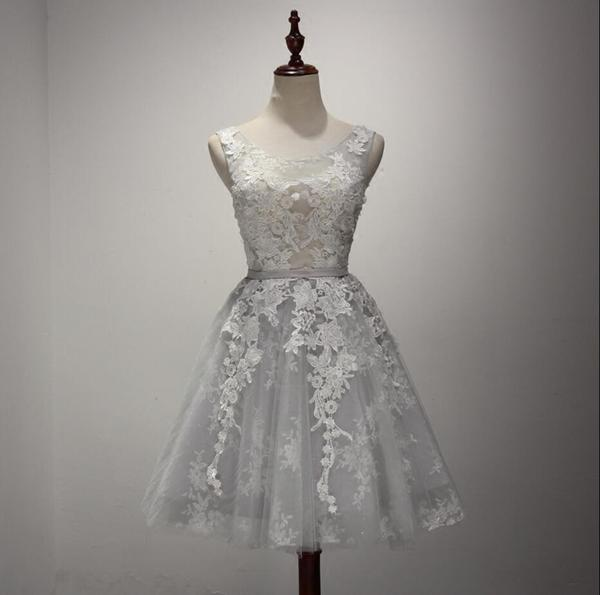 Gray Lace See Through Homecoming Prom Dresses, Affordable Corset ...