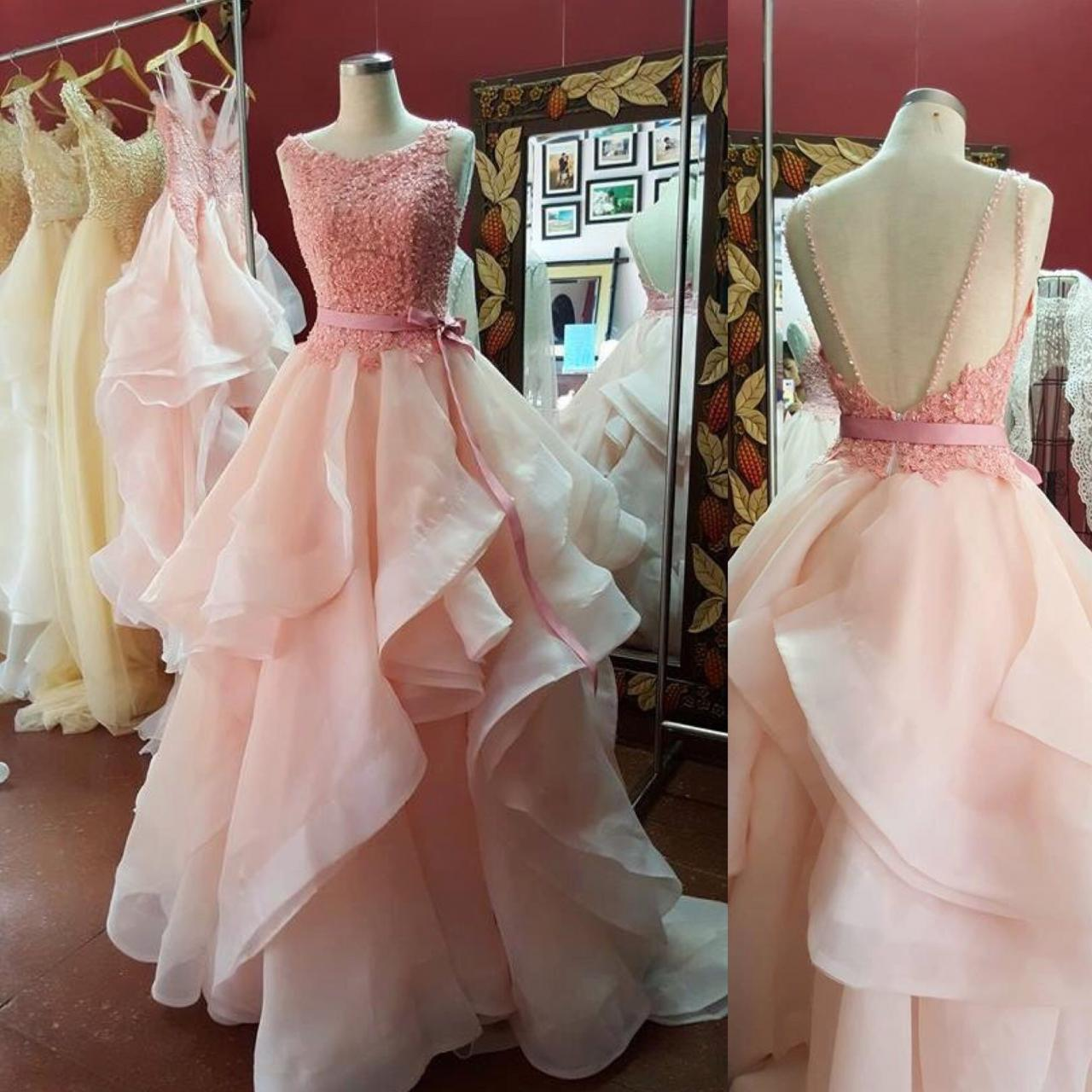 Long Pink Lace Ball Gown Prom Evening Dresses 118788 · Luckdresses ...