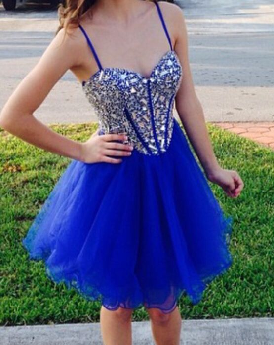 01b5d535b7287 Blue Beading Prom Dress,New Arrival Prom Dress,Elegant Spaghetti Homecoming  Dress,YY237
