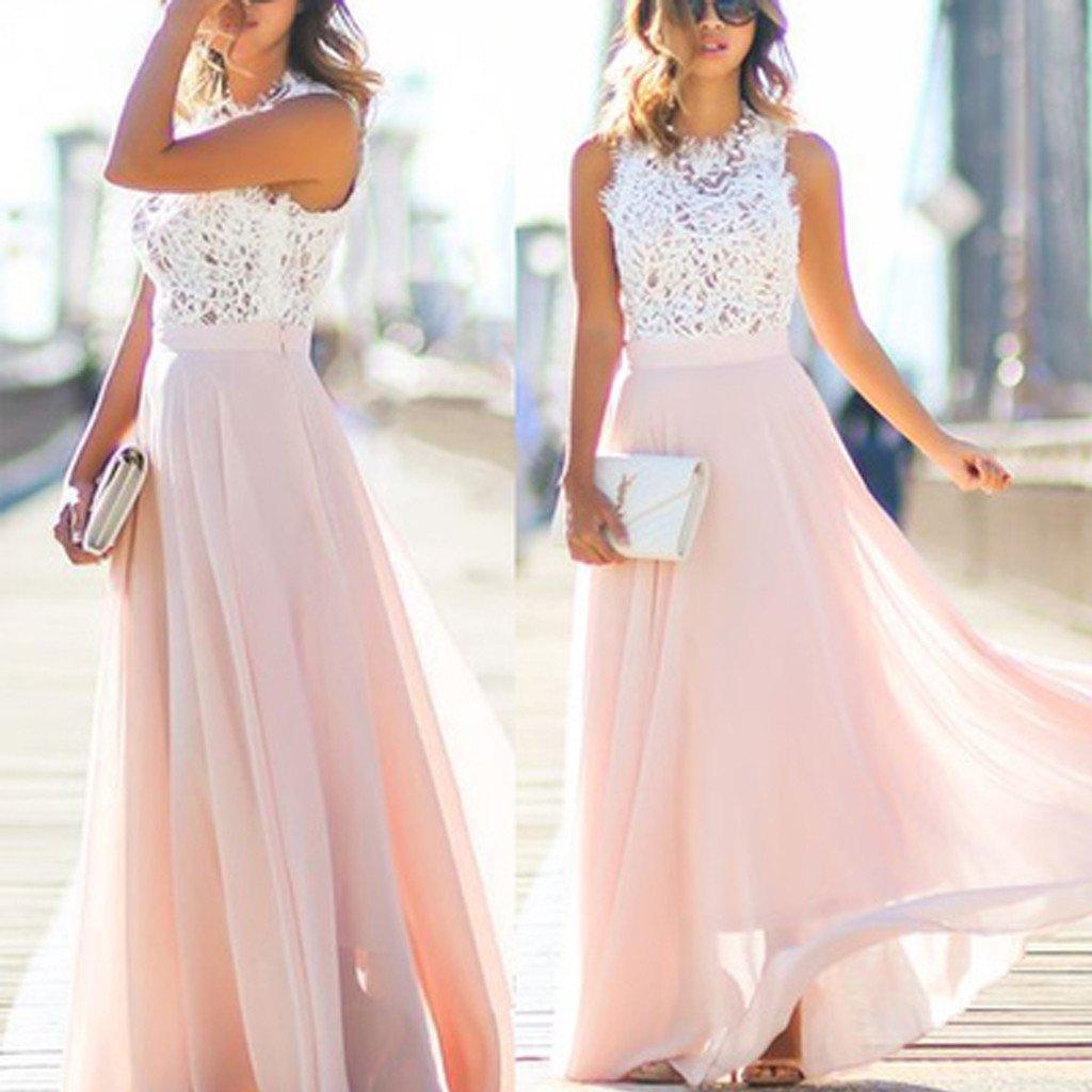 Online Junior Unique Long Prom Dress Formal Blush Pink