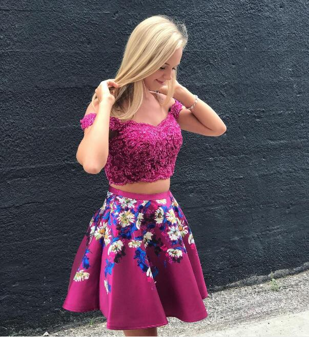 57f993cd741f Sexy Two Piece Fuchsia Off the Shoulder Prom Dresses Homecoming ...