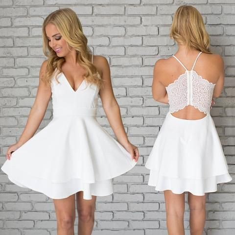 9b2d6b2a2f0b Simple white two Pieces v neck short prom dress,white homecoming dress