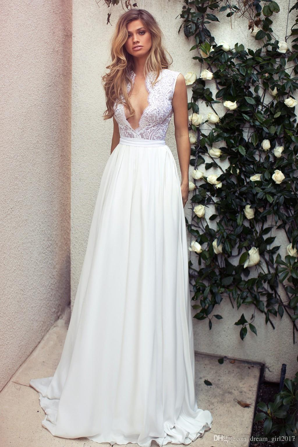 5ccb721e6e Mini 20short 20chiffon 20beach 20wedding 20dresses 20illusion 20lace  20plunging 20neckline 20sleeveless 20backless 20bridal 20gowns 20a line