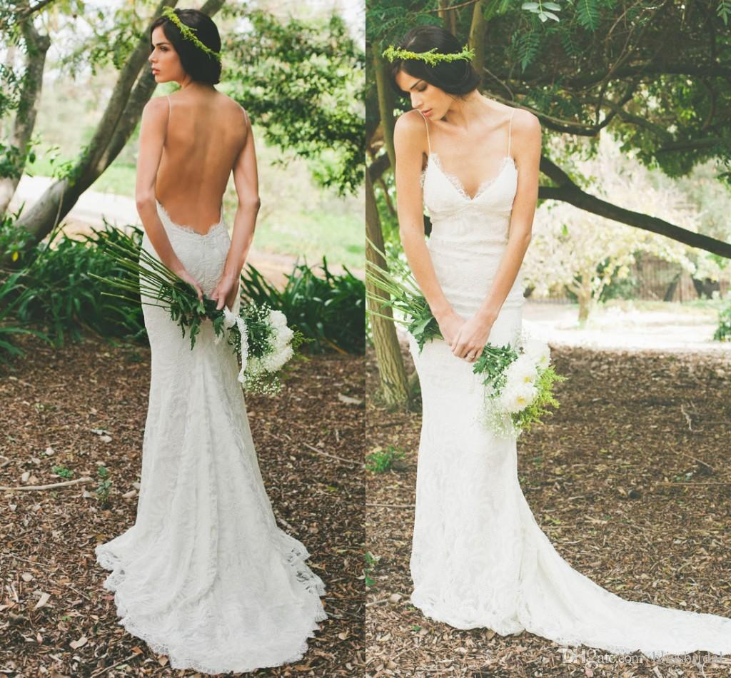 Sexy backless wedding dress with sleeves