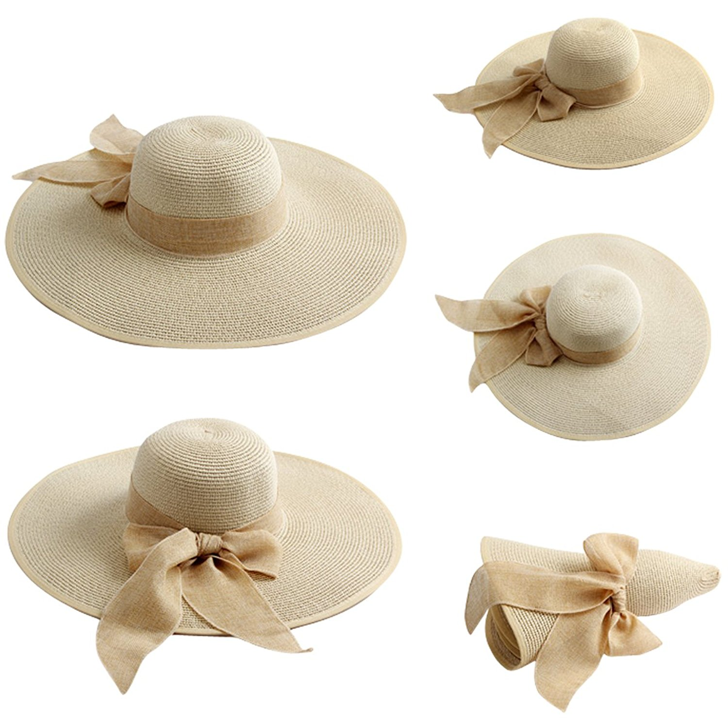 defac9e939f58 Lanzom Womens Big Bowknot Straw Hat Floppy Foldable Roll up Beach Cap Sun  Hat UPF 50