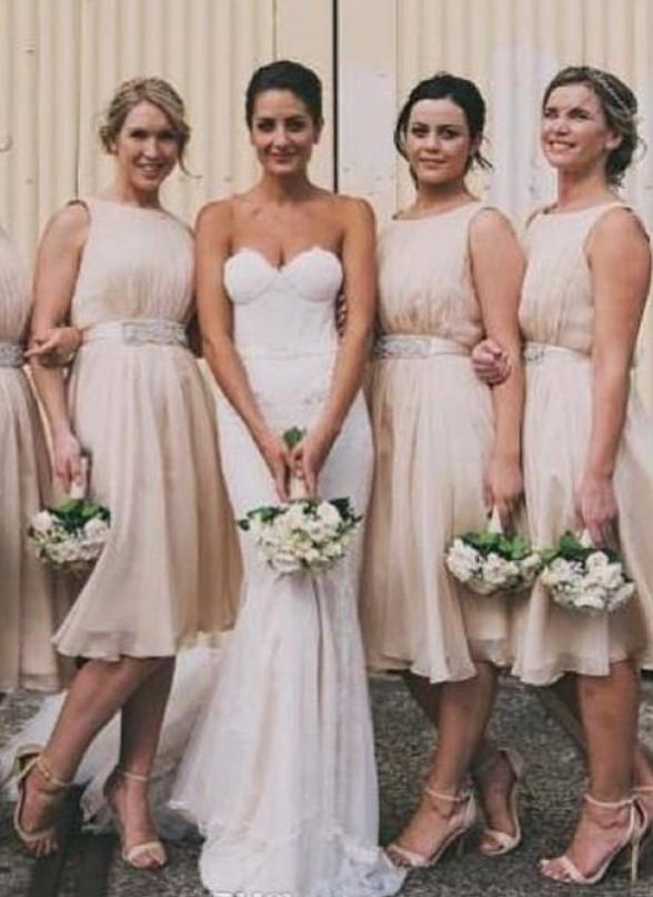 Knee Length Short Bridesmaid Dresses Champange A Line Chiffon Maid ...