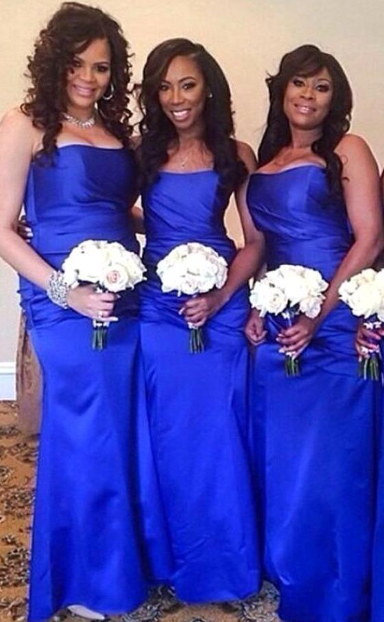Royal Blue Elegant Mermaid Bridesmaid Dresses Floor Length Strapless