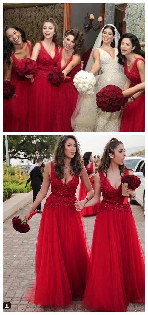 Wedding Guest Dresses Red Applique Lace Sequin A Line V Neck Zipper