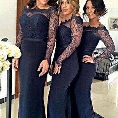 66eb5181014 New long sleeves cheap bridesmaid dresses lace satin mermaid cheap prom  dresses full length modest off
