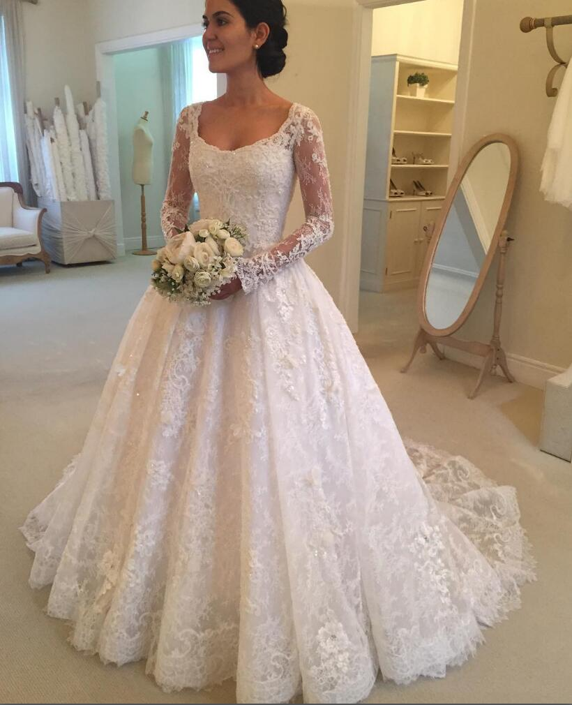 Wedding Gown With Neck Detail: Boat Neck Wedding Dress, A Line Wedding Dress, 2017 New