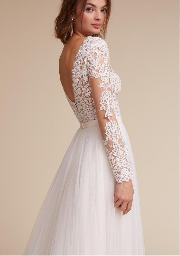 Sheer Lace Top V Neck A Line Long Chiffon Wedding Dress with Long ...
