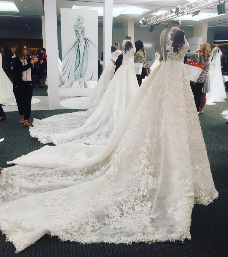 db5e72923a0 A-line Luxury Full Lace V Neck Long Train Wedding Dress