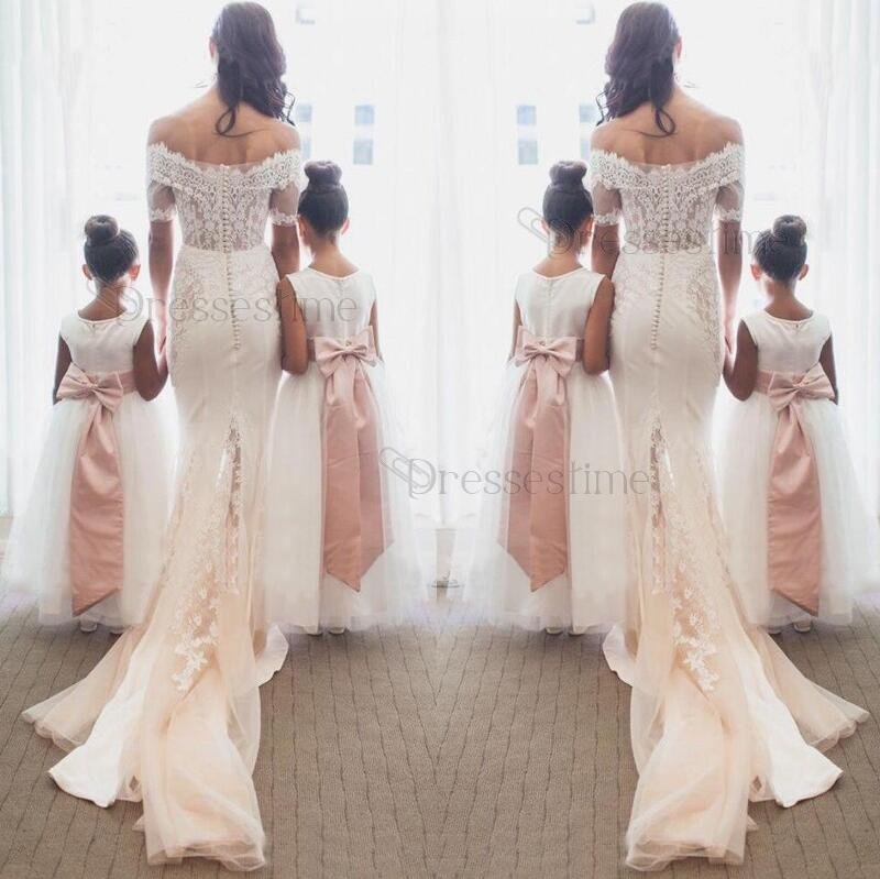 77e998c3197 Elegant Mermaid Off Shoulder Half Sleeves Sweep Train Wedding Dress with  Lace
